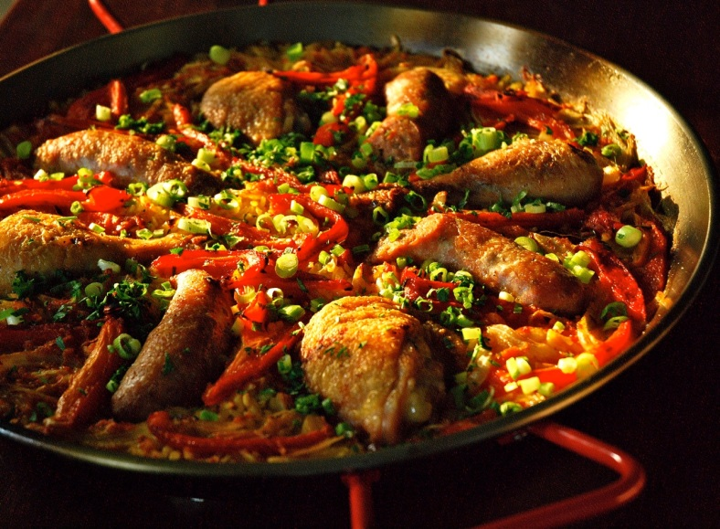 Chicken, Sausage and Rep Pepper Paella