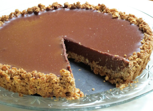 Milk chocolate pie with a pretzel crust